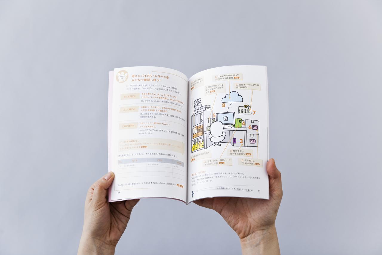 『アート・アーカイブの便利帖──アート・プロジェクトをアーカイブするために知りたいこと』(アーツカウンシル東京、2016年)。すぐに使える「便利帖」として、資料をデスク周りのどこに置くか、といった具体例も掲載されている。Tokyo Art Research LabとNPO法人アート&ソサイエティ研究センターのウェブサイトでPDFをダウンロード可能。