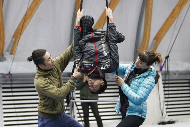 新豊洲Brilliaランニングスタジアムでの空中トレーニング